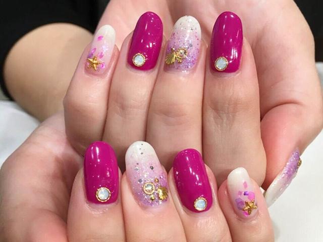 夏を感じさせるパーツ使いとピンクカラーが可愛らしいデザイン☆