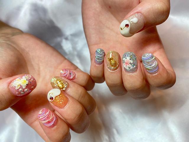 金魚、ヨーヨー、ビールの夏祭りデザイン☆今年はお祭りに行けない分、お爪を眺めて楽しみましょう❤️
